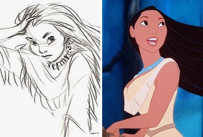Первые эскизы персонажей из мультфильмов Диснея